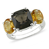 Sterling Silver 5.50 CT TGW Smokey Quartz Citrine Fashion Ring