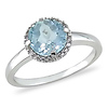 10K White Gold Blue Topaz Sky Ring with Diamond Accents