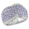 Sterling Silver Bypass Diamond & Tanzanite Ring