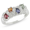 Sterling Silver 0.88 CT TGW Multi-Color Sapphire Fashion Ring