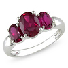 Sterling Silver 3.50 CT TGW Synthetic Ruby 3 Stone Ring