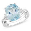 Sterling Silver 5.50 CT TGW Blue Topaz & Diamond Fashion Ring