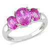 Sterling Silver 3.50 CT TGW Synthetic Pink Sapphire 3 Stone Ring