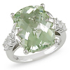 Sterling Silver Created White Sapphire & Green Amethyst Ring