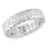 Sterling Silver Oval Cut CZ Bezel Set Eternity Ring