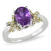 Sterling Silver 1 CT TGW Amethyst & Diamond Two Tone Ring