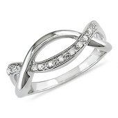 Intertwined Sterling Silver Diamond Ring
