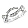 Sterling Silver 0.10 ctw Intertwined Diamond Fashion Ring