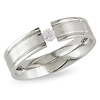 Modern Stainless Steel Solitaire CZ Ring