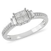 10K White Gold Princess Cut Diamond  Ring
