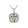 10k White Gold Cushion Cut Diamond and Green Amethyst Pendant