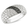 Sterling Silver 1.00 ctw White & Black Diamond Ring