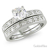 Sterling Silver 2.10 ctw CZ Engagement Ring Set
