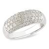 Contemporary Sterling Silver Diamond Ring