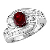 Sterling Silver Synthetic Garnet & Graduated CZ Ring