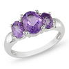 Sterling Silver 1.80 CT TGW Amethyst 3 Stone Ring
