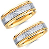 14K Two Tone Gold Hammer & Cord Matching Wedding Band Set