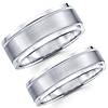 Brushed Contemporary 14K White Gold Matching Wedding Band Set