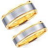 Contemporary Brushed 14K Two Tone Matching Wedding Bands