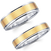 4mm & 6mm Brushed Contemporary 14K Two Tone Matching Wedding Bands
