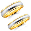 Contemporary 14K Two Tone Matching Wedding Bands