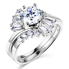Scaffold Round CZ Engagement Ring Set in 14K White Gold