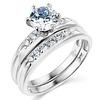14K White Gold Round CZ Wedding Ring Set
