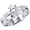 Round & Baguette 14k White Gold CZ Engagement Ring Set