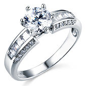 Fancy 14K White Gold Round CZ Engagement Ring