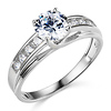 Classic 14K White Gold CZ Engagement Ring