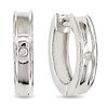 Sterling Silver Cuff Hoop Earrings with Diamond Accent