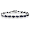 Sterling Silver Oval Sapphire Bracelet with Diamond Accents