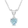 10K White Gold Sky Blue Topaz Heart Pendant with Diamond Accent