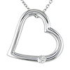10K White Gold Open Heart Pendant with Diamond Accent