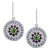 Silver 4-3/8ct TGW Earrings w/2.2mm Rd Tanzanite, 2.5mm Rd Rhodolite & 5mm Rd Peridot