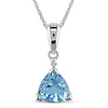 Triangular Sky Blue Topaz & Diamond Accent 10K White Gold Pendant