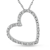 10K White Gold Diamond Heart Pendant & Chain Necklace