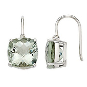 14k White Gold Green Amethyst Earrings with Diamond Accent