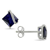 10k White Gold Created Sapphire Stud Earrings