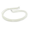 18' 3 Strand 4-5mm  FW Rice Pearl Necklace w/ Silver Lobster Clasp, (pearl grade AAA)