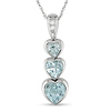 Triple Heart Sky Blue Topaz & Diamond Accent 10K White Gold Pendant