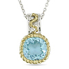 Sterling Silver Blue Topaz Sky Pendant - with Diamond Accents