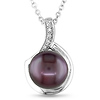 Sterling Silver .025 ctw Diamond Freshwater Pearl Fashion Pendant