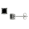 1 CT Black Diamond TW Stud Earrings 14k Gold White 14k Gold White I2;I3