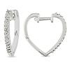 Heart Shaped Sterling Silver Diamond Cuff Earrings