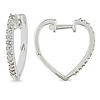 Heart Shaped Sterling Silver Diamond Cuff Earrings