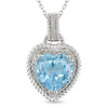 Sterling Silver Sky Blue Topaz Heart Pendant
