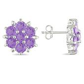 Sterling Silver Amethyst Flower Stud Earrings