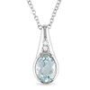 Sterling Silver .03 ctw Diamond & 1.5 CT TGW Blue Topaz Fashion Pendant