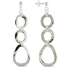 Oval Links Dangling Silver Earrings
